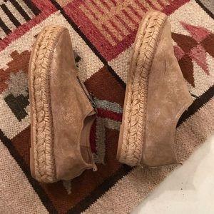 Eric Michael tan nubuck leather platform shoes 7.5